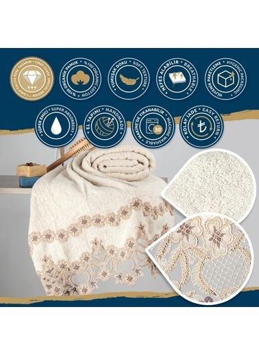 Nazik Home Elegance Dantelli Banyo Vücut Havlusu (90 x 150 cm) %100 Pamuk Bej